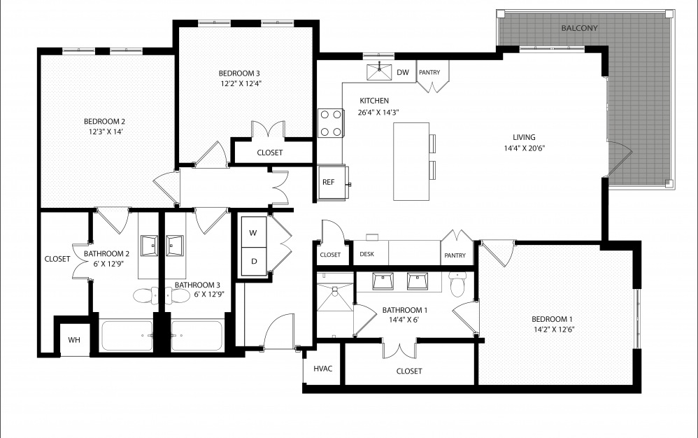 C1d - 3 bedroom floorplan layout with 3 baths and 1656 square feet.
